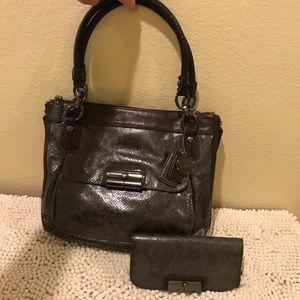 Coach Leather/PYTHON Shoulder Bag/Matching Wallet